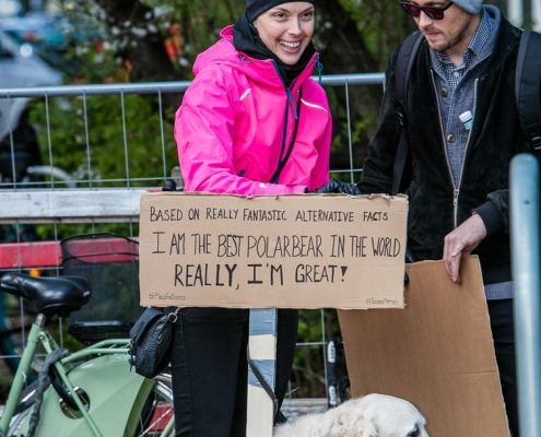 March for Science Copenhagen people with signs and dog